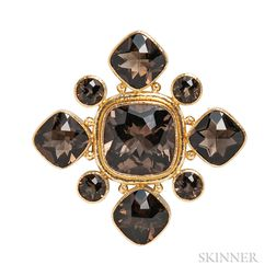 19kt Gold and Citrine Pendant/Brooch, Elizabeth Locke